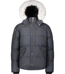 moose knuckles 3q jacket antraciet grijs/wit