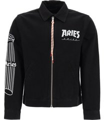 aries jacket with temple logo print
