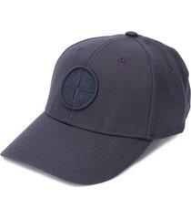 stone island embroidered logo cap - blue