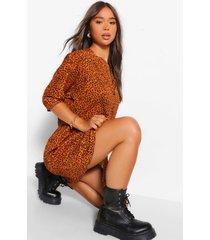 luipaardprint blouse jurk met driekwartsmouw, orange
