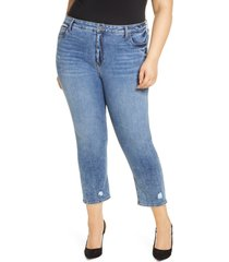plus size women's kut from the kloth naomi girlfriend high waist straight leg ankle jeans