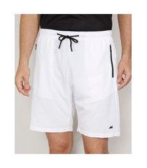 bermuda masculina esportiva ace com bolso de zíper e cordão branca