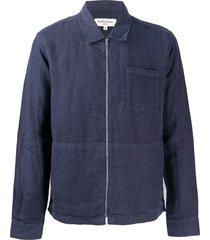 ymc bowie zip-up linen shirt - blue