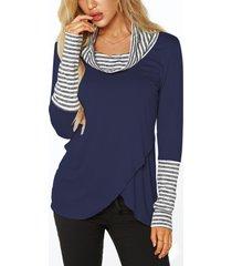 camisetas de rayas con cuello vuelto azul marino y superposición en la parte delantera