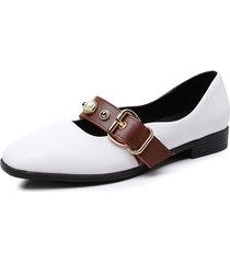 big size women casual buckle belt square toe slip on flats