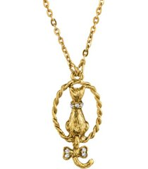 2028 gold tone crystal backwards cat necklace 18""