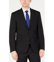 dkny men's modern-fit stretch black solid suit jacket