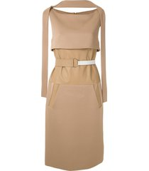 gloria coelho side pockets panelled dress - brown