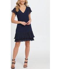 dkny a-line pleated chiffon dress