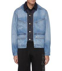 double collar layered denim jacket
