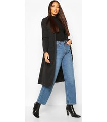 utility pocket tie waist trench coat, black