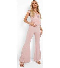 zwangerschap jumpsuit met open schouders, rose