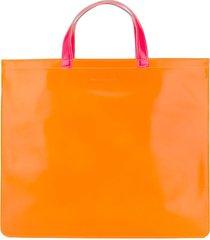 comme des garçons wallet colour-block tote bag - orange