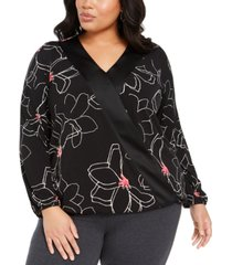 alfani plus size printed surplice-neck blouse, created for macy's