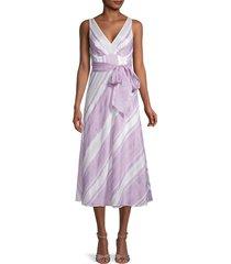 rebecca taylor women's striped tie-waist midi dress - lilac - size 4