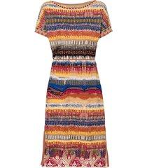 uitlopende jacquard-gebreide jurk van bio-katoen, beige-motief 36