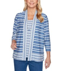 alfred dunner pearls of wisdom layered-look textured-stripe top