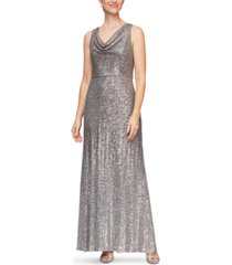 alex evenings cowlneck sequin gown