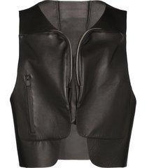 1017 alyx 9sm bonded leather gilet - black