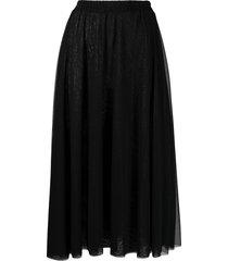 atu body couture gathered-waist midi skirt - black