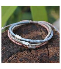 silver accent braided bracelet, 'modern hill tribe' (thailand)