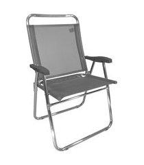 cadeira de praia king zaka em alumínio até 140 kg cinza