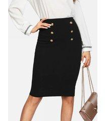 yoins basics falda de cintura alta negra con doble botonadura diseño