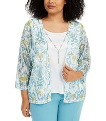 alfred dunner plus size chesapeake bay printed layered-look necklace top