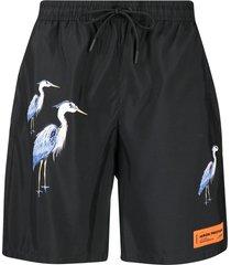 heron preston herons-print swim shorts - black