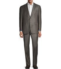 saks fifth avenue men's tailored fit wool suit - olive - size 42 r