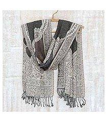 jamawar wool shawl, 'ivy and paisley' (india)
