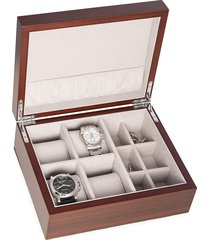 bey-berk matte walnut wood watch & cufflink storage box - brown