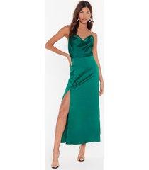 womens cowl you mine diamante maxi dress - emerald