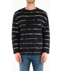 saint laurent pullover with interrupted stripe motif