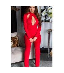 sexy lange mouw jumpsuit met uitsparingen rood