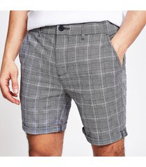 river island mens grey check skinny shorts