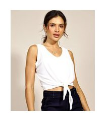 regata feminina cropped com nó alça larga decote v off white