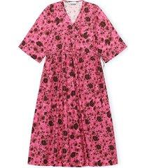 printed cotton poplin dress in shocking pink