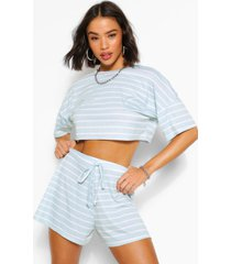 pastel stripe t-shirt & flippy shorts co-ord, sage