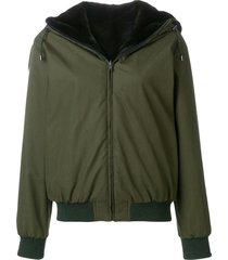 holland & holland reversible fur hooded jacket - green
