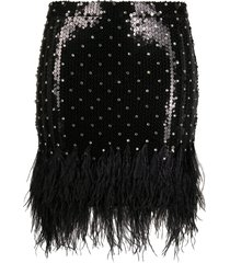 amen feather-trimmed sequin mini skirt - black