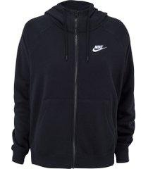 jaqueta com capuz nike sportswear essential hoodie fz flc - feminina - preto