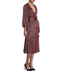 abigail metallic leopard & stripe stretch silk wrap dress