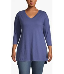 lane bryant women's lane essentials 3/4-sleeve high-low tunic 14/16 deep cobalt