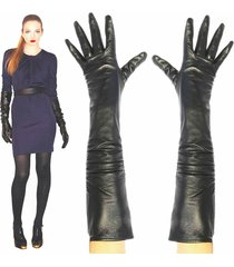 women's 23 inches long,black lambskin leather opera length gloves