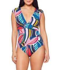 bleu by rod beattie absolutely fabulous cap sleeve one-piece swimsuit, size 12 in multi at nordstrom
