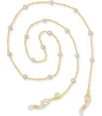 "kendra scott 14k gold-plated genuine pearl (5mm) 26"" mask chain"