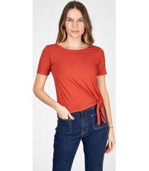blusa t-shirt bloom amarração lateral cor terra - kanui
