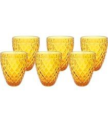 conjunto de copos bico de abacaxi âmbar