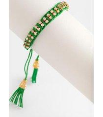 jaxson braided pull tie bracelet - green